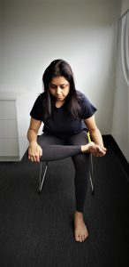 Chair yoga: pigeon pose 2