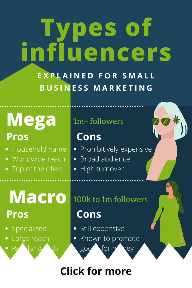An infographic on the different types of influencers by size - as they relate to small business marketing