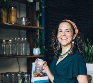 Environmentally conscious woman in a shop